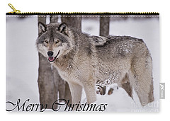 Timber Wolf Christmas Card English 3 Carry-all Pouch