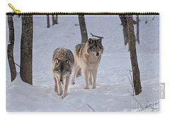 Carry-all Pouch featuring the photograph Timber Wolf Pair  by Wolves Only