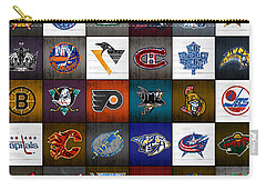 Time To Lace Up The Skates Recycled Vintage Hockey League Team Logos License Plate Art Carry-all Pouch by Design Turnpike
