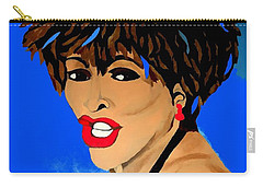 Tina Turner Fierce Blue Impression Carry-all Pouch by Saundra Myles