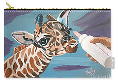 Tiny Baby Giraffe With Bottle Carry-all Pouch