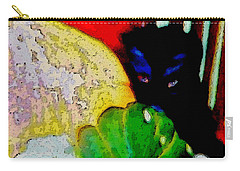 Carry-all Pouch featuring the painting Tiny Black Kitten by Lisa Kaiser