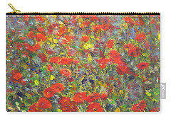 Carry-all Pouch featuring the painting Tiptoe Through A Poppy Field by Richard James Digance