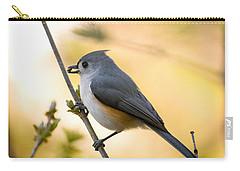 Titmouse In Gold Carry-all Pouch