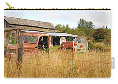 To Everything There Is A Season. Rusty Old Trucks And A Barn Carry-all Pouch by Connie Fox