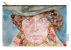 Tom Baker Doctor Who Watercolor Portrait Carry-all Pouch by Fabrizio Cassetta