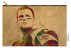 Tom Brady New England Patriots Quarterback Watercolor Portrait On Distressed Worn Canvas Carry-all Pouch