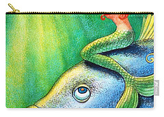 Toot Your Own Seashell Mermaid Carry-all Pouch by Sue Halstenberg