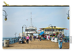 Tourists On Santa Monica Pier, Santa Carry-all Pouch by Panoramic Images