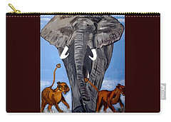 Carry-all Pouch featuring the painting Trampling Elephant by Nora Shepley