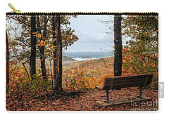 Carry-all Pouch featuring the photograph Tranquility Bench In Great Smoky Mountains by Debbie Green