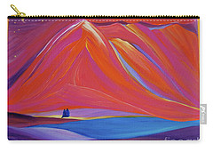 Carry-all Pouch featuring the painting Travelers Pink Mountains by First Star Art