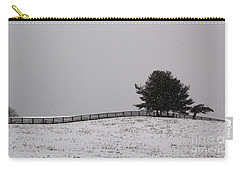 Tree And Fence In Snow Storm Carry-all Pouch