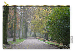 Carry-all Pouch featuring the photograph Tree Lined Path In Fall Season Bruges Belgium by Imran Ahmed