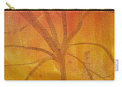 Carry-all Pouch featuring the painting Tree Of Three Gold by Robin Maria Pedrero