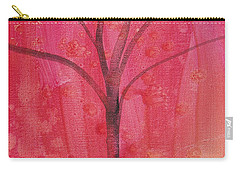 Carry-all Pouch featuring the painting Tree Of Three Pink by Robin Maria Pedrero