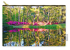 Tree Reflections And Pink Flowers By The Blue Water By Jan Marvin Studios Carry-all Pouch