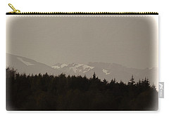Treeline With Ice Capped Mountains In The Scottish Highlands Carry-all Pouch