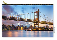 Carry-all Pouch featuring the photograph Triboro Bridge At Dusk by Mihai Andritoiu