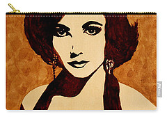 Tribute To Elizabeth Taylor Coffee Painting Carry-all Pouch by Georgeta  Blanaru