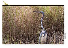 Carry-all Pouch featuring the photograph Tricolored Heron Peeping Over The Rushes by John M Bailey