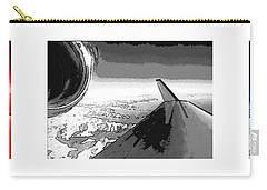 Carry-all Pouch featuring the photograph Red White Black An White Blue An White Jet Pop Art Planes. by R Muirhead Art
