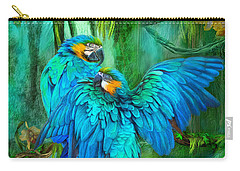 Tropic Spirits - Gold And Blue Macaws Carry-all Pouch by Carol Cavalaris
