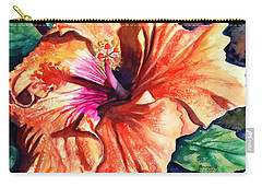 Carry-all Pouch featuring the painting Tropical Hibiscus by Marionette Taboniar