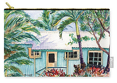 Carry-all Pouch featuring the painting Tropical Vacation Cottage by Marionette Taboniar