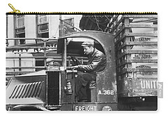 Truck Driver In His Cab Carry-all Pouch by Underwood Archives