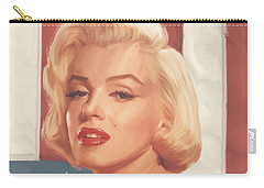 True Blue Marilyn In Flag Carry-all Pouch by Chris Consani