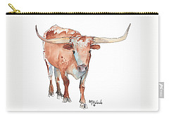 Square Walking Tall Texas Longhorn Watercolor Painting By Kmcelwaine Carry-all Pouch by Kathleen McElwaine