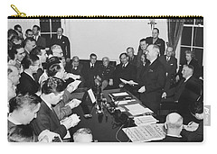 Truman Announces V-e Day Carry-all Pouch by Underwood Archives