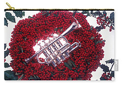 Trumpet On Red Berry Wreath Carry-all Pouch