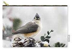 Tufted Titmouse In The Snow Carry-all Pouch