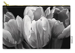 Tulip Flowers Black And White Carry-all Pouch by Jennie Marie Schell