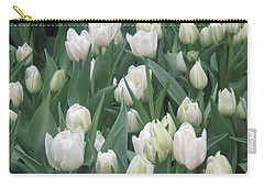 Carry-all Pouch featuring the photograph Tulip White Show Flower Butterfly Garden by Navin Joshi