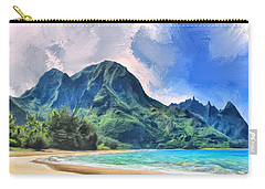 Tunnels Beach Kauai Carry-all Pouch by Dominic Piperata