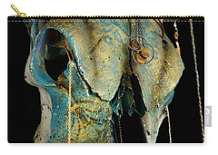 Turquoise And Gold Illuminating Steer Skull Carry-all Pouch