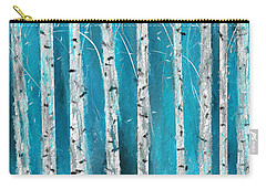 Turquoise Birch Trees II- Turquoise Art Carry-all Pouch