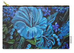 Turquoise Hibiscus Carry-all Pouch by Jenny Lee