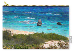 Carry-all Pouch featuring the photograph Turquoise Ocean And Pink Beach by Verena Matthew