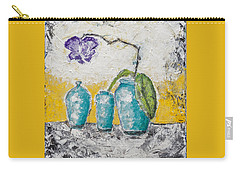 Carry-all Pouch featuring the painting Turquoise Vases And Purple Orchid Still Life by Ben Gertsberg