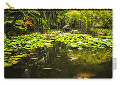 Carry-all Pouch featuring the photograph Turtle In A Lily Pond by Belinda Greb