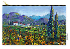 Carry-all Pouch featuring the painting Tuscany Sunflowers Miniature by Lou Ann Bagnall