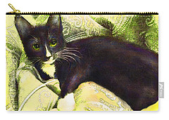 Carry-all Pouch featuring the digital art Tuxedo Cat by Jane Schnetlage