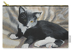 Carry-all Pouch featuring the painting Tuxedo Kitten by Jeanne Fischer