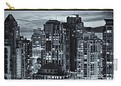 Carry-all Pouch featuring the photograph Twilight On Cityscape Of Vancouver Overlooking English Bay - Greeting Card by Amyn Nasser