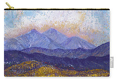 Carry-all Pouch featuring the painting Twin Peaks Above The Fruited Plain by Margaret Bobb