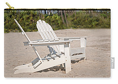 Carry-all Pouch featuring the photograph Two Beach Chairs by Charles Beeler